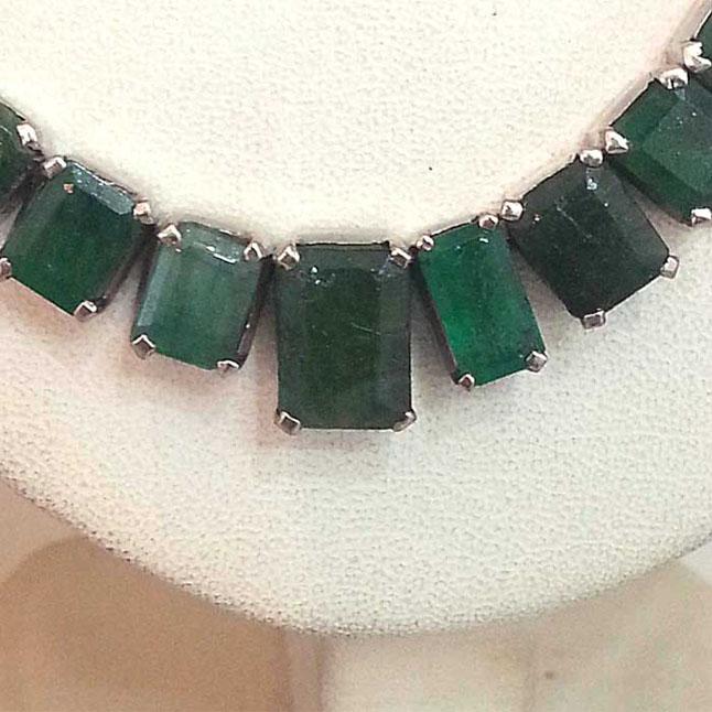 Square Emerald & Sterling Silver Necklace -156 -H