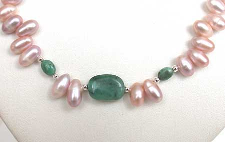 Single Line Oval Emerald & Drop Shaped Purple Pearl Necklace -Pearl Necklaces