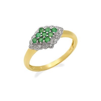 Emerald ringslet 0.08 ct Diamond & Emerald rings -Diamond & Emerald