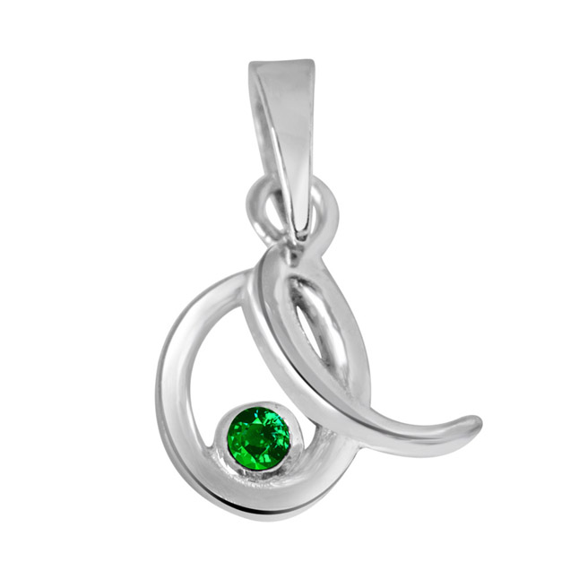 "Emerald Twist -Real Emerald & Sterling Silver Pendants with 18"" Chain -Gemstone Pendants"
