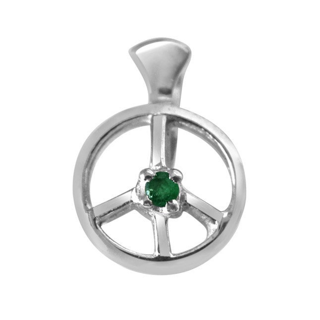 "Emerald Wheel -Real Emerald & Sterling Silver Pendants with 18"" Chain"