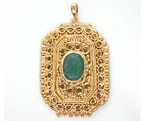 Emerald Set in Rectangular Gold Plated Pendants
