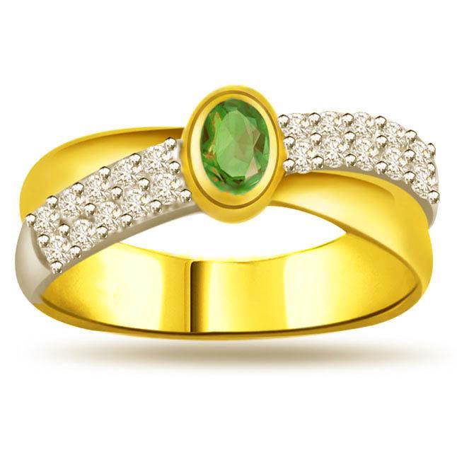 Emerald Sparkle 0.20 ct Diamond & Emerlad rings -Diamond & Emerald