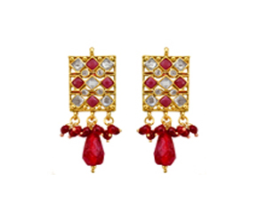 Enchanting Red Polki Jewelry Set SJK177