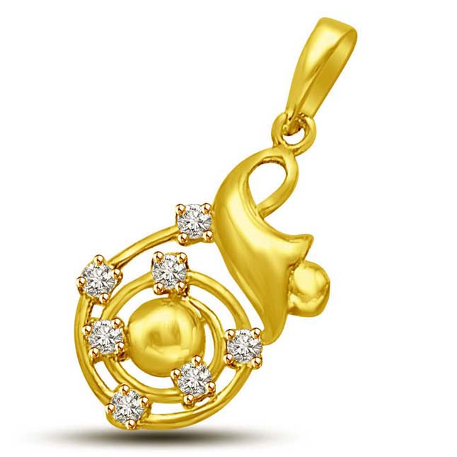 Encircling Diamond & Gold Pendants. -Designer Pendants