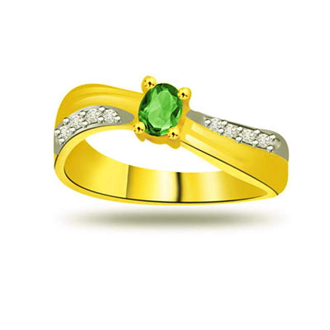Endless Beauty 0.08ct Diamond & Emerald rings SDR1117 -Diamond & Emerald