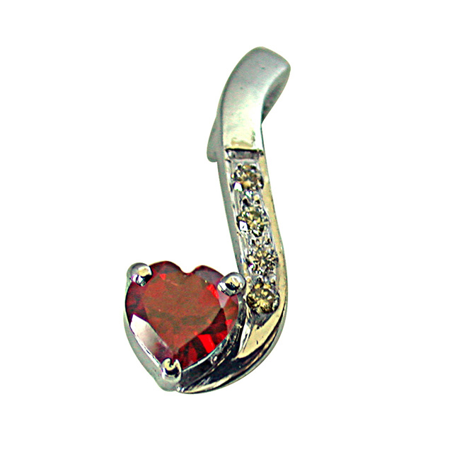 "Diamond & Heart Shape Garnet Set in very Engaging manner in 925 Silver Pendants with 18"" Chain"