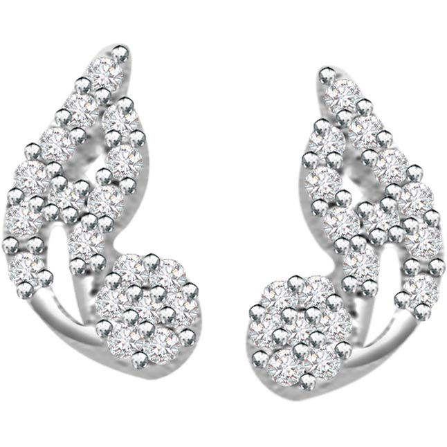 0.75ct Diamond White Gold Earrings -Designer Earrings