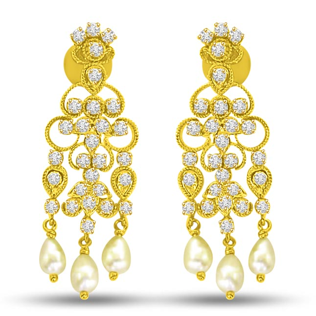Triple Flower Diamond Dangler Earrings ER -11 -224