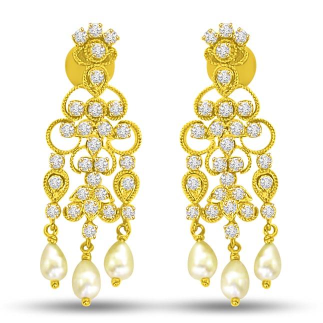 Triple Flower Diamond Dangler Earrings ER -11 -224