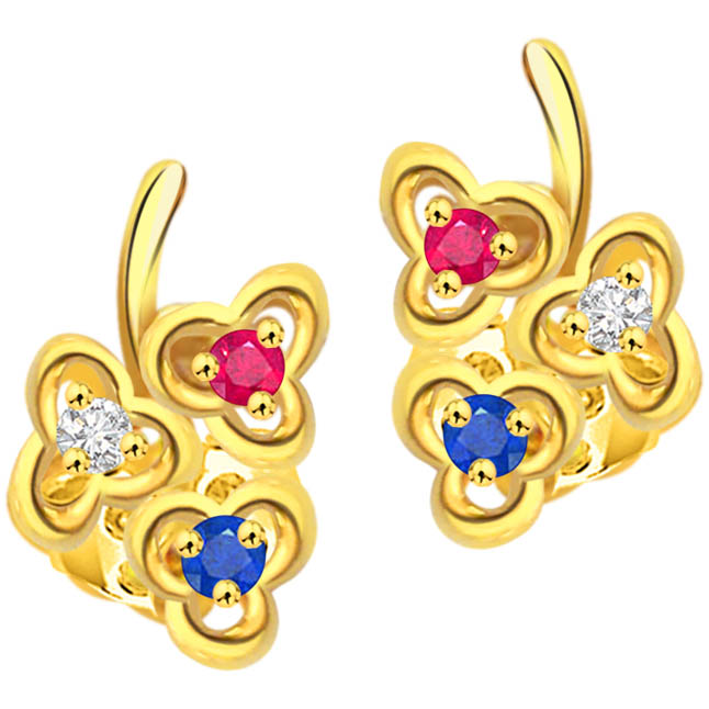 Triplet Flower Diamond Flower Shape Earrings ER -142 -Flower Shape Earrings