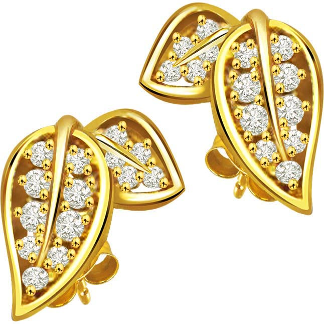 Love Birds 0.52 ct Diamond 2 Leaf Shaped Earrings -Designer Earrings