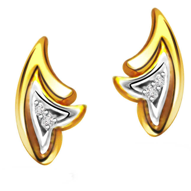 Golden Desire Solitaire Diamond Earrings -Two Tone Earrings