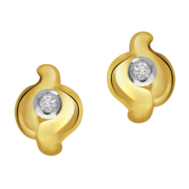 Hooping Circle 0.40 ct Diamond Solitaire Earrings -Solitaire Earrings