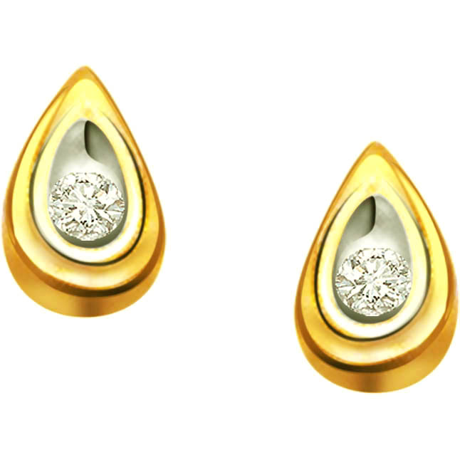 Dew Drops Solitaire Diamond Earrings -Two Tone Earrings