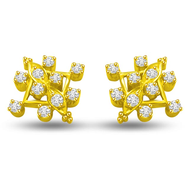 Sparkling Diamond Designer Earrings ER -16 -Geometrical