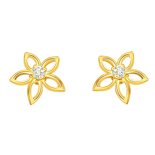 Golden Star 0.08 ct Solitaire Daimond Earrings -Designer Earrings