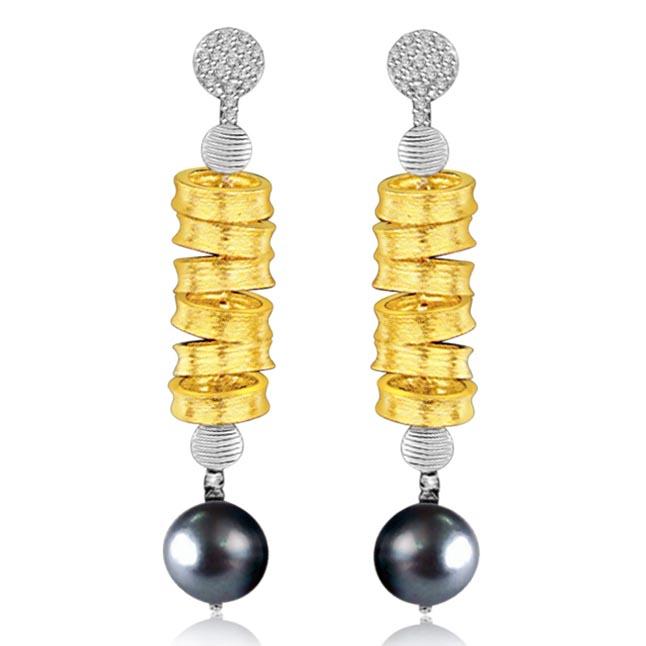 Hanging Gold & Pearl Two Tone Diamond & Tahitian Pearl Earrings