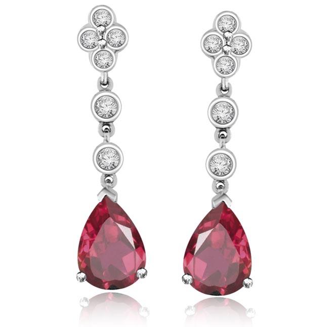 Queen's Dangle Tourmaline Diamond Earrings