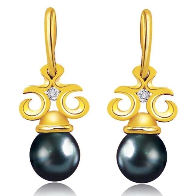 Added Bonus Pearl Real Diamond & Tahitian Pearl Earrings