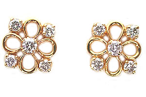 Flowery Fun Diamond Earrings ER -17 -Flower Shape Earrings
