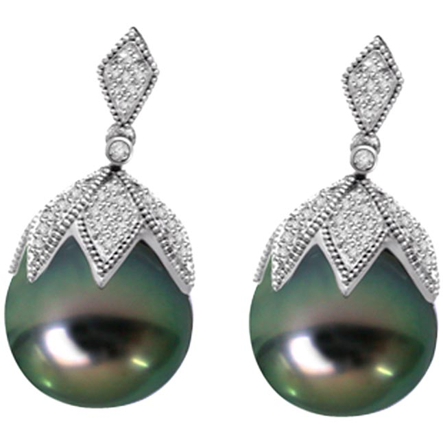 Hang Pearl 0.75ct Real Diamond & Tahitian Pearl Earrings
