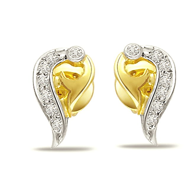 Sweetheart Diamond Earrings -Two Tone Earrings