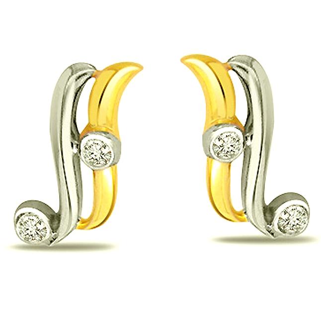 She is My Angel Two Tone Real Diamond Earings -Two Tone Earrings