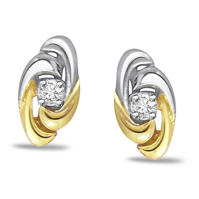 Twirl Delight -Diamond & 18k Gold Earrings -Solitaire Earrings