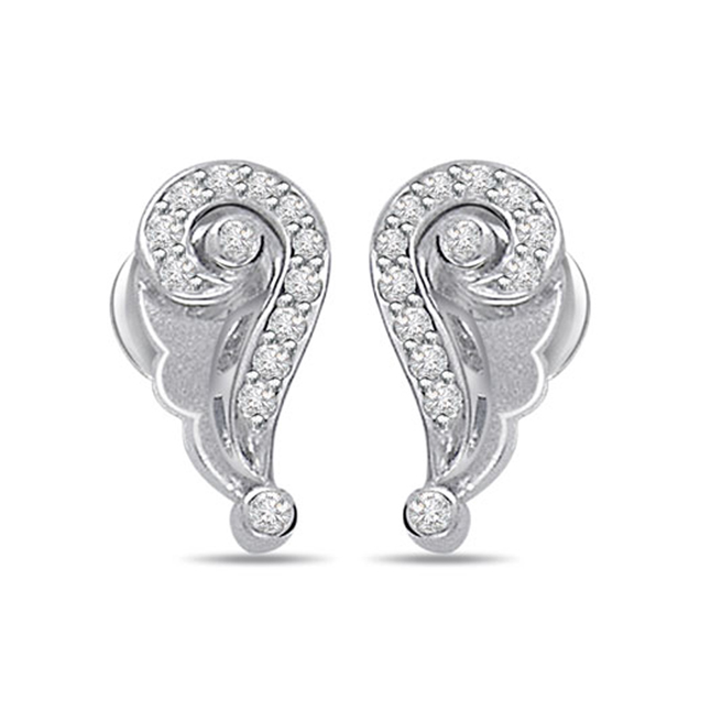 Circular Twist 0.15ct Diamond 14kt Gold Earrings -Designer Earrings