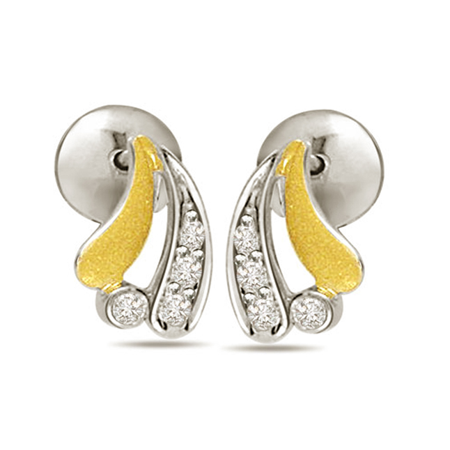 Princess Royale Two Tone Diamond Earrings -Two Tone Earrings