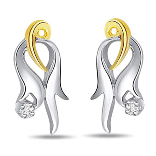 Mysterious Girl Two Tone Real Diamond Earrings