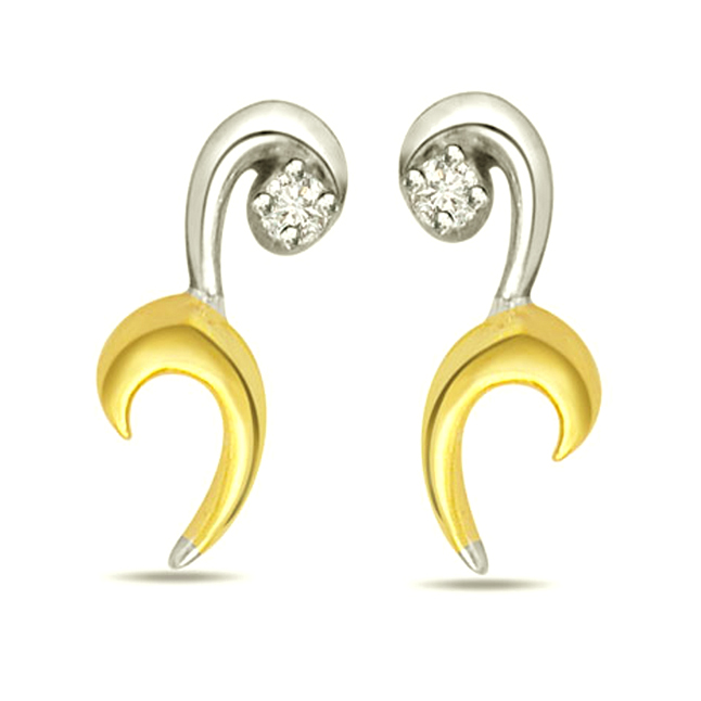 Simply The Best Two Tone Solitaire Earrings -Two Tone Earrings