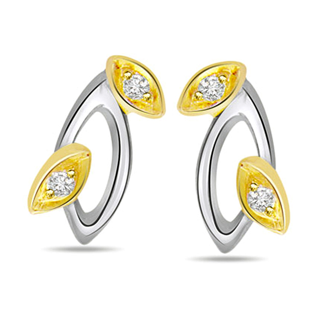 Sparkling Diamonds Two Tone Earirngs