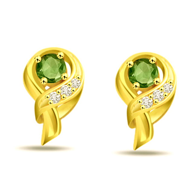 Green Dazzler's Diamond & Emerald Earrings -Designer Earrings