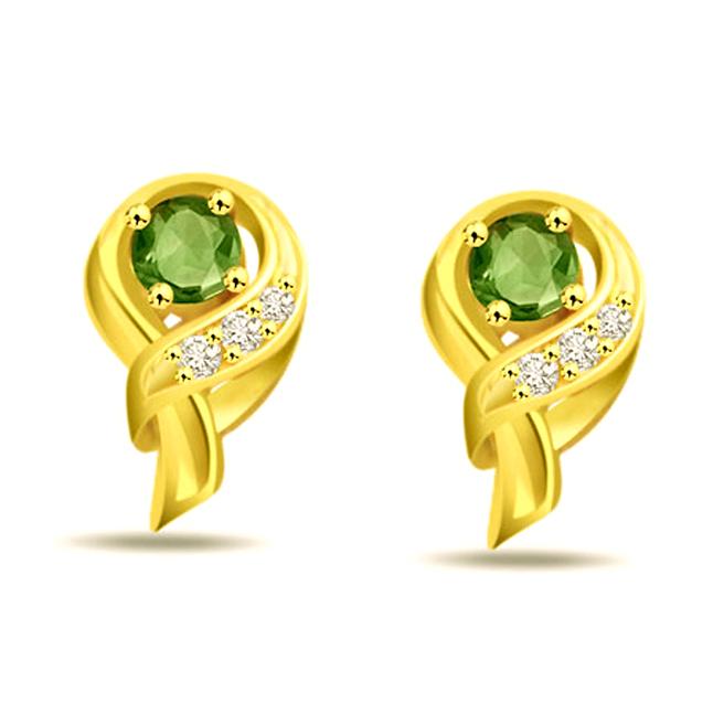 Green Dazzler's Diamond & Emerald Earrings -Designer Earrings