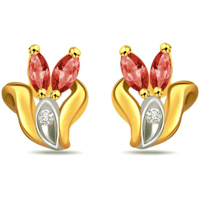 Pretty Lady's Real Diamond & Ruby Earrings -Designer Earrings