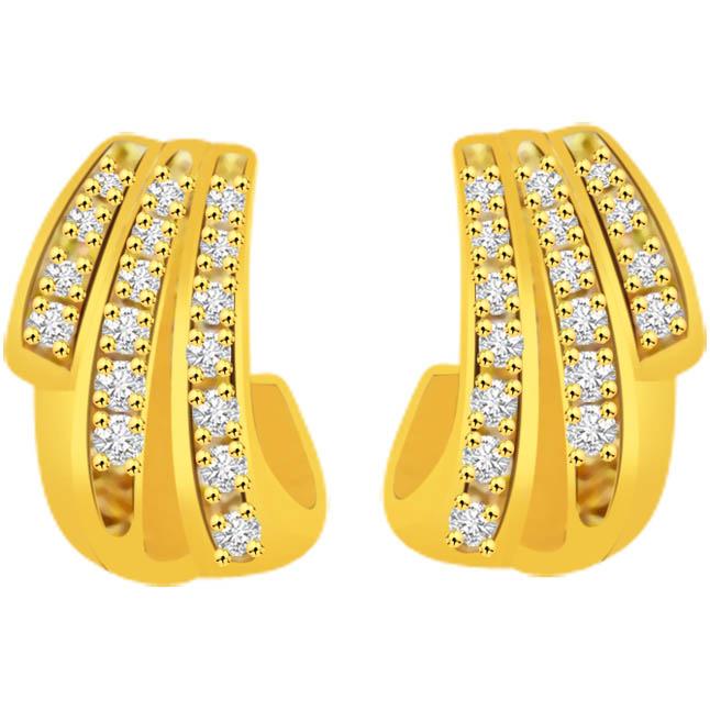 Triplet Delight 0.34ct Diamond Earrings -Designer Earrings