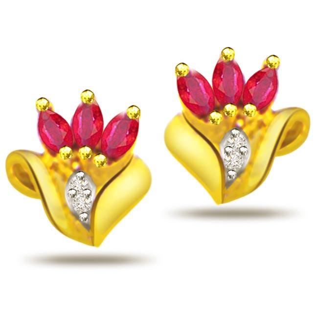 Buds of Love 0.08ct Diamond & Ruby Earrings -Dia & Gemstone