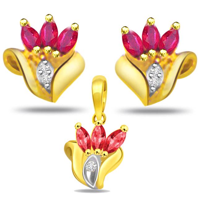 Diamond & Marquise Ruby Set - Designer Earrings