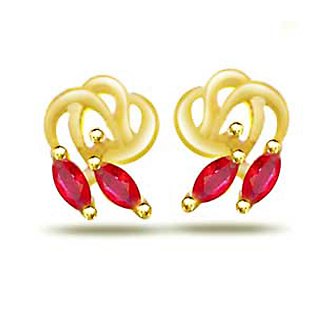 Stay Twirl 0.20ct Marq. Shape Ruby Earrings -Dia & Gemstone