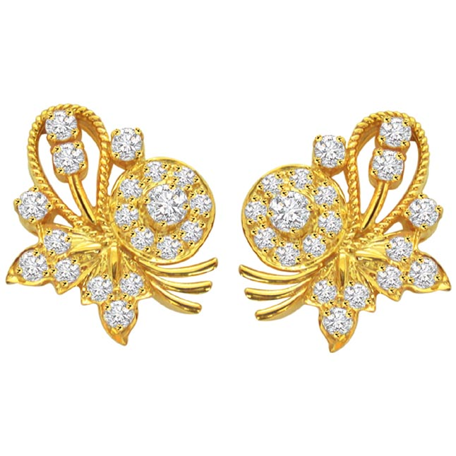 Butterfly Bud Diamond Earrings -Designer Earrings
