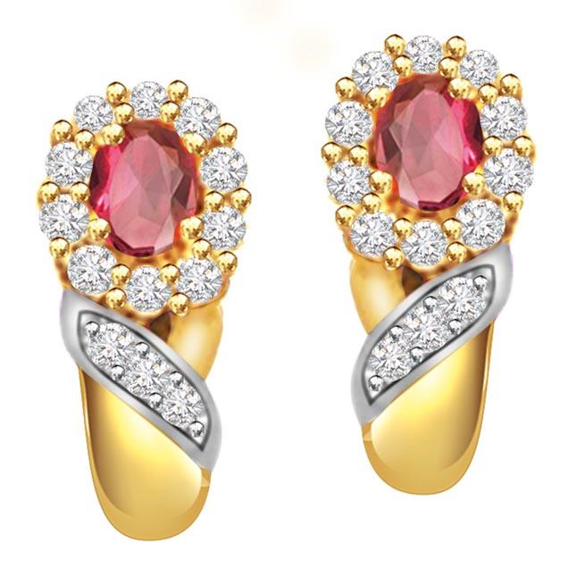 Magic Flower 0.30ct Diamond Ruby Earrings -Dia & Gemstone
