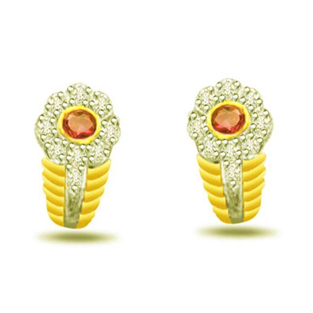 Blossom Bumble 0.18ct Diamond & Ruby Earrings -Dia & Gemstone