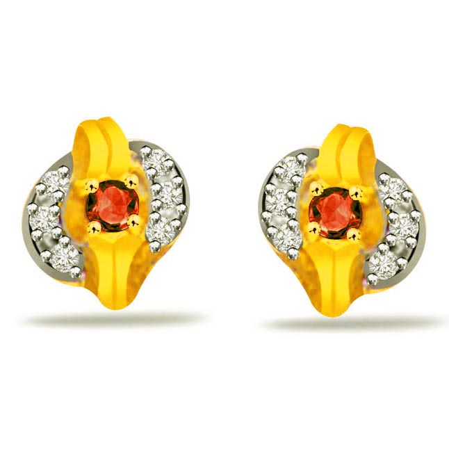 Dramatic Circle 0.18ct Ruby & Diamond Earrings -Dia & Gemstone