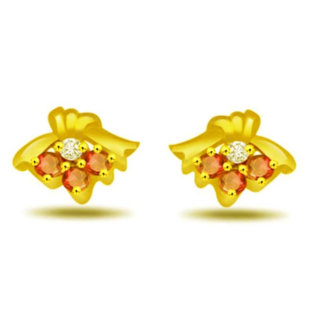 Dapper Dame Real Diamond & Ruby Earrings -Designer Earrings