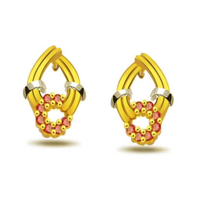 Twinkle Gold 0.42ct Ruby Gold Earrings -Dia & Gemstone