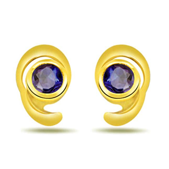 Charm Your Self Round Blue Sapphire Earrings