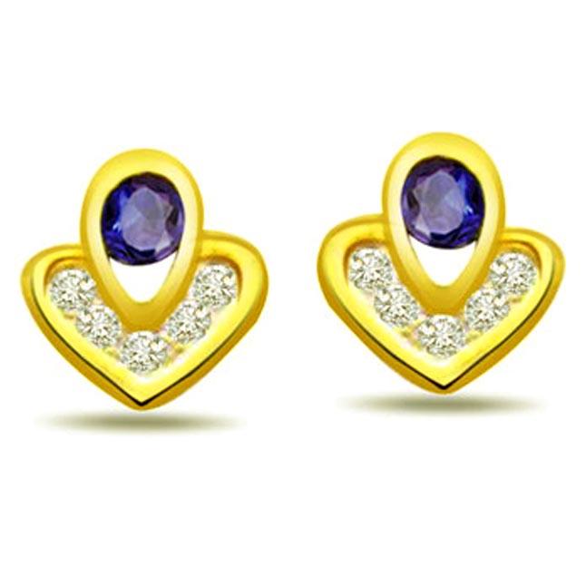 Cross My Heart 0.12 ct Diamond & Sapphire Earrings -Dia & Gemstone