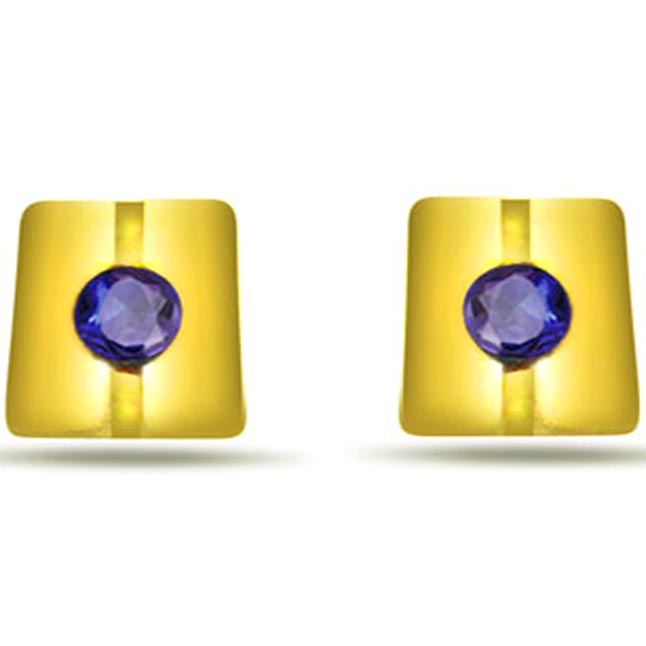 Square Shape Sapphire Earrings -Dia & Gemstone